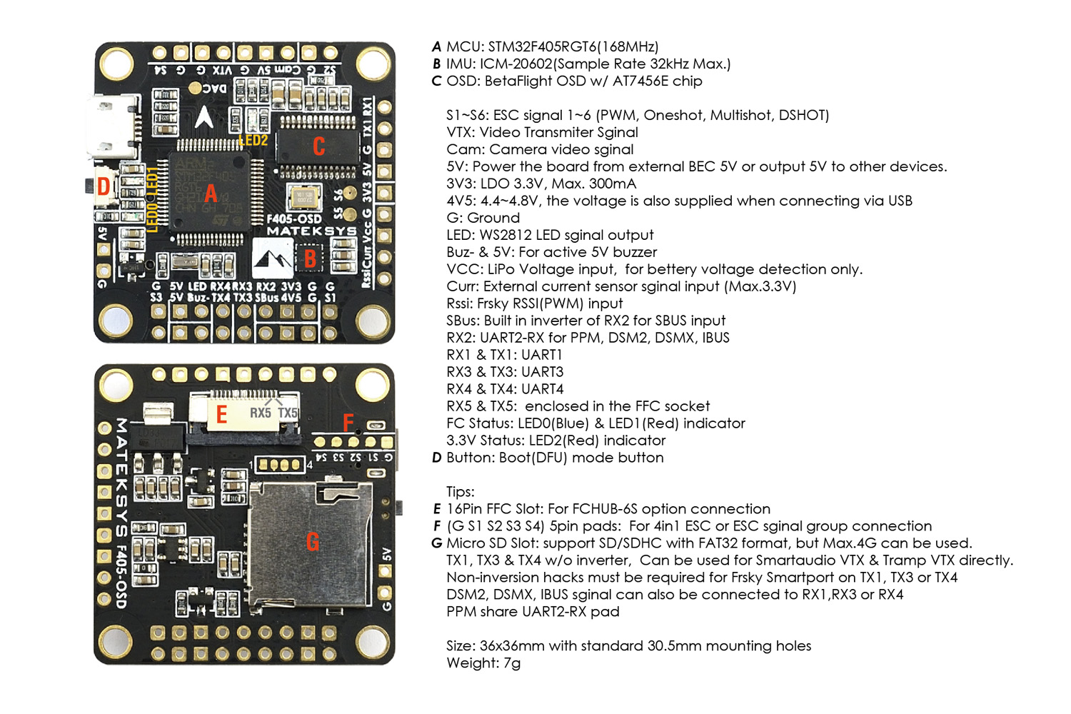 Matek F405 Osd New F4 Flight Controller