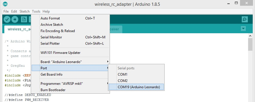Arduino as wireless RC simulator dongle
